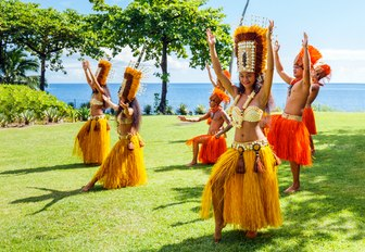 Polynesian women perform traditional dance in Tahiti Papeete FRENCH POLYNESIA