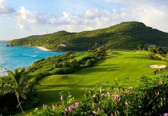 lush golf course overlooking blue sea in Bermuda