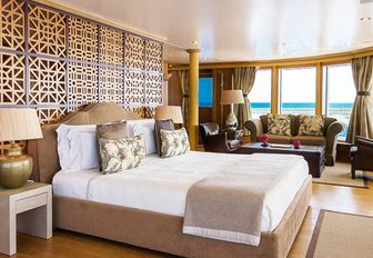 master suite with 180-degree views on board luxury yacht BOADICEA