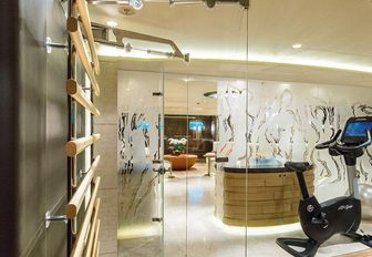 A treadmill and fitness facilities inside luxury yacht 'Here Comes The Sun'