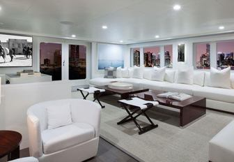The main salon of luxury yacht BG