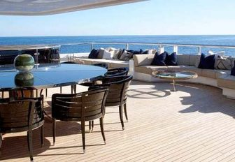 circular dining table on the upper deck aft of charter yacht SEALYON
