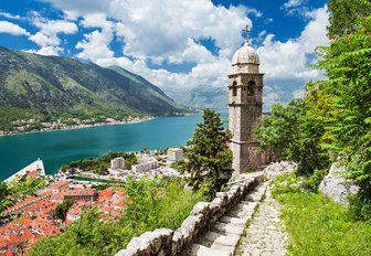 spectacular mountainous coastline of Montenegro with red-roofed towns and monasteries