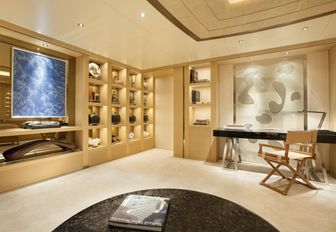 master suite study with Japanese artwork on board luxury yacht KIBO