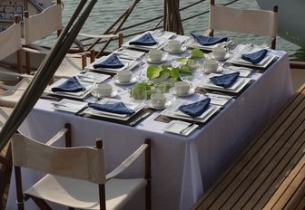 alfresco dining area on the aft deck of charter yacht DALLINGHOO