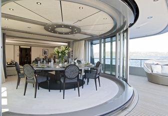 The interior seating of superyacht SLIPSTREAM