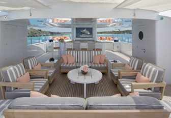 al fresco lounge on the sundeck of motor yacht Time For Us
