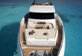 sunning station and seating area on the bow of luxury yacht December Six