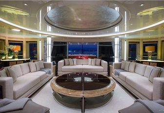 A communal space featured on board motor yacht Excellence V