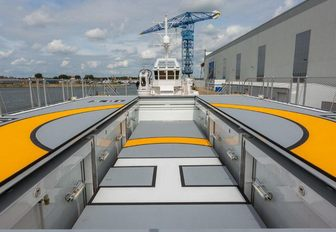 certified helipad on the aft deck of charter yacht Game Changer