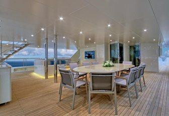luxurious alfresco dining area on board luxury yacht MEIRA