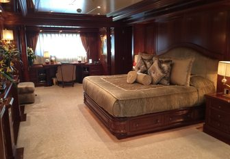 The master cabin featured on board the luxury yacht APOGEE