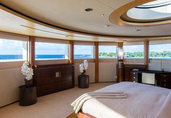 master suite with panoramic views and skylight on board motor yacht ANASTASIA