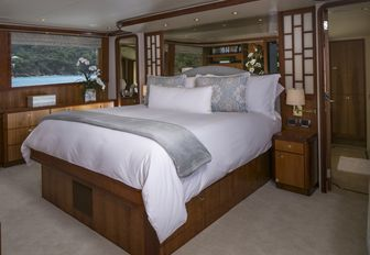 sophisticated master suite aboard luxury yacht 'Chasing Daylight'