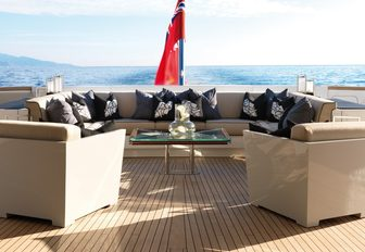 sumptuous alfresco seating area on the aft deck of motor yacht SEALYON