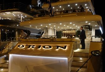 Motor yacht O'Rion at the Mediterranean Yacht Show during the evening