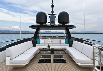 the spacious sun deck on board motopr yacht EVA. 4EVA with plush seating and panoramic view of nearby vistas
