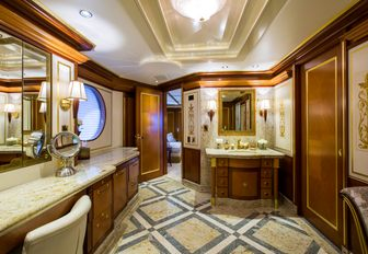 en suite bathroom in the lavish main suite of luxury yacht My Seanna