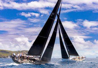 two sailing yachts do battle at Les Voiles de Saint Barth
