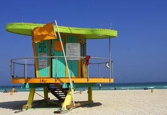 colourful lifeguard hut on South Beach in Miami, Florida