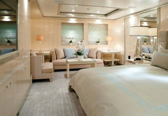 sleeping quarters of the light and airy master suite aboard luxury yacht 'Step One'