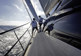crew get to work on sailing yacht GANESHA, lined up for the 2017 St Barths Bucket Regatta