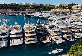 Superyachts in Port Hercules for the Monaco Grand Prix 2018