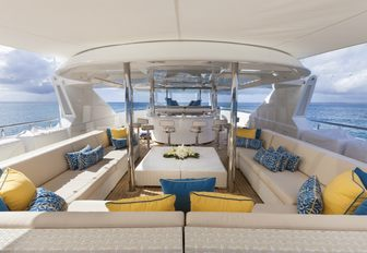 bar and U-shaped seating area on board charter yacht TRENDING
