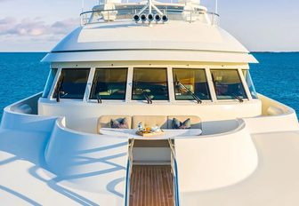 luxury yacht foredeck with seating area