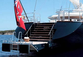 steps lead down to the drop-down swim platform on the stern of superyacht FIDELIS