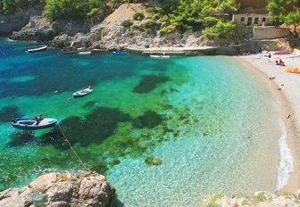 Sandy beach on Mljet island in Croatia