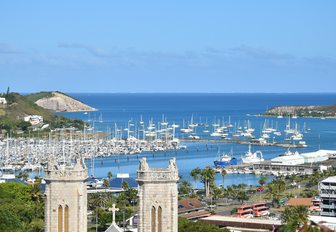 yachts line up in Citron bay, Noumea, New Caledonia