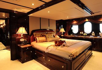 The master cabin on luxury yacht Ionian Princess