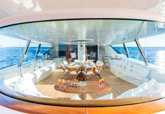 undercover dining area on board superyacht Q