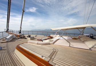 sunning and lounging options on foredeck of luxury gulet DAIMA