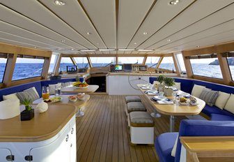 main salon on sailing superyacht