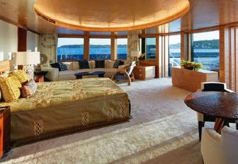 One of the guest cabins featured on board Feadship superyacht SYMPHONY