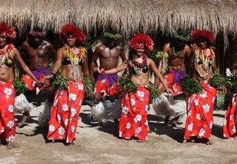 Robinson Crusoe island's group performs Island dance at Dancing Spectacular on July 28, 2011 in Robinson Crusoe Island, Fiji