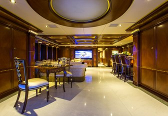 skylounge with bar and lounge area on board charter yacht My Seanna