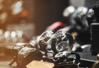 luxury watches in a store window in Porto Cervo, Sardinia
