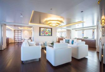 Main salon and seating area on board luxury yacht AQUIJO