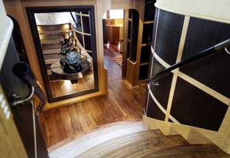 staircase and lower deck lobby shows exquisite craftsmanship aboard luxury catamaran HEMISPHERE