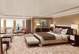 Master suite on luxury yacht planet nine