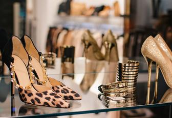 high heels and jewellery in a window of a shop in Porto Cervo, Sardinia