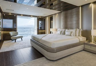 the masters quarters in mega yacht EVA. 4EVAfeaturing private en suit facilities, lounging space and personal balcony