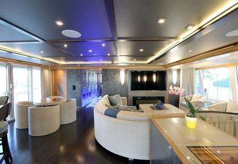 The contemporary interior of IAG superyacht SERENITY