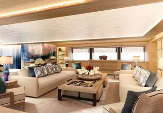 A graphic rendering of the main salon of luxury yacht Cloud 9