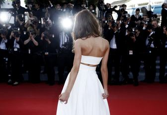 Actress walks the red carpet at the Cannes Film Festival