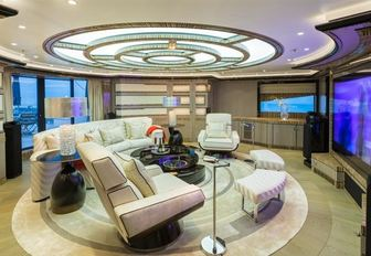 circular cinema room on upper deck aft  of charter yacht OKTO