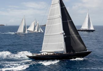 yachts in action at the St Barths Bucket Regatta